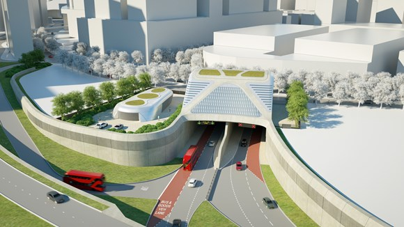 TfL Press Release - TfL completes contract with Riverlinx consortium to design, build, finance and maintain Silvertown Tunnel: TfL Image - Greenwich Portal Overview