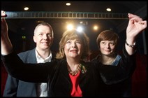 Ken Hay, CEO of Edinburgh International Film Festival, Cabinet Secretary Fiona Hyslop, and Julia Amour, Director, Festivals Edinburgh