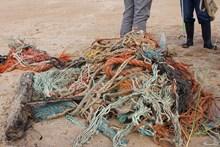 Forvie NNR - beach rubbish collected on a SNH staff volunteer day - credit SNH