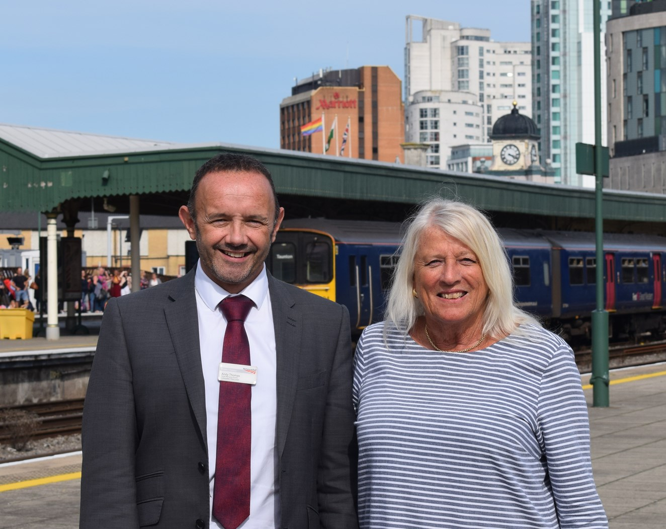 Track and train brought closer together as rail industry creates new board to represent customers in Wales and the borders: Andy Thomas, route managing director for Network Rail Wales, and Margaret Llewellyn, the chair of the Wales Route Supervisory Board