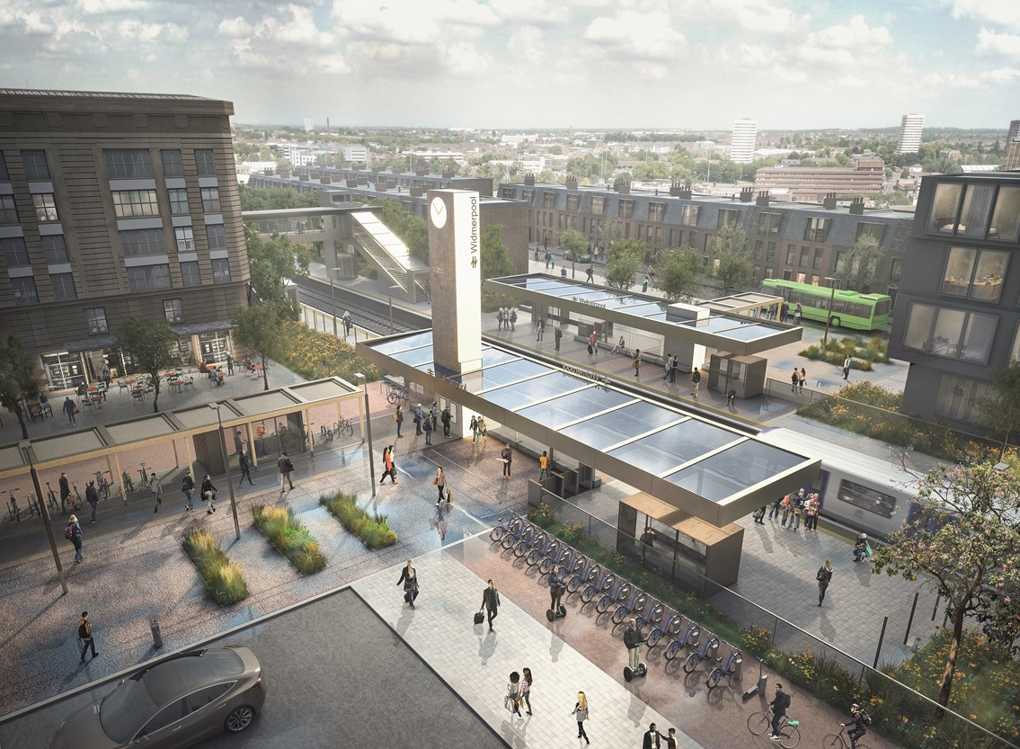 Network Rail and RIBA announce railway station design competition winner: Railway Station Visualisation - Aerial ©7N Architects