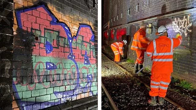 Railway workers continue railway graffiti blitz at London Euston: Graffiti clearance Euston February 2021