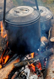 Pot of boiling water on campfire - credit SNH-Lorne Gill