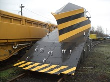Snowplough at Carlisle depot: This snowplough is used for clearing deep snow and is attached to the front of locomotives.  winter weather. Snow