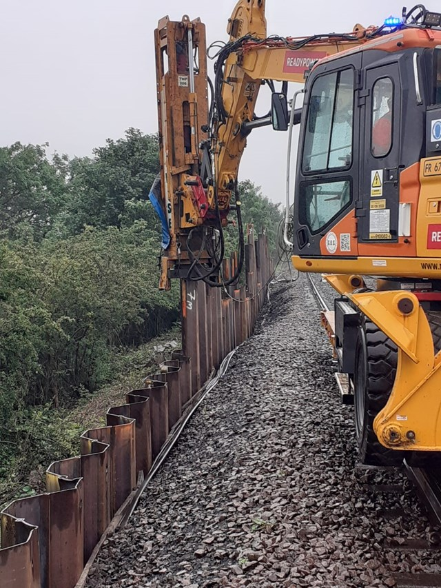 Landslip hit rail route will reopen tomorrow after repair work finishes two days early: Landslip repair work taking place