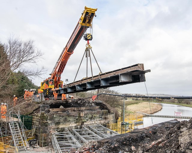 Crane removing sections of Oswaldtwistle being over Leeds and Liverpool canal