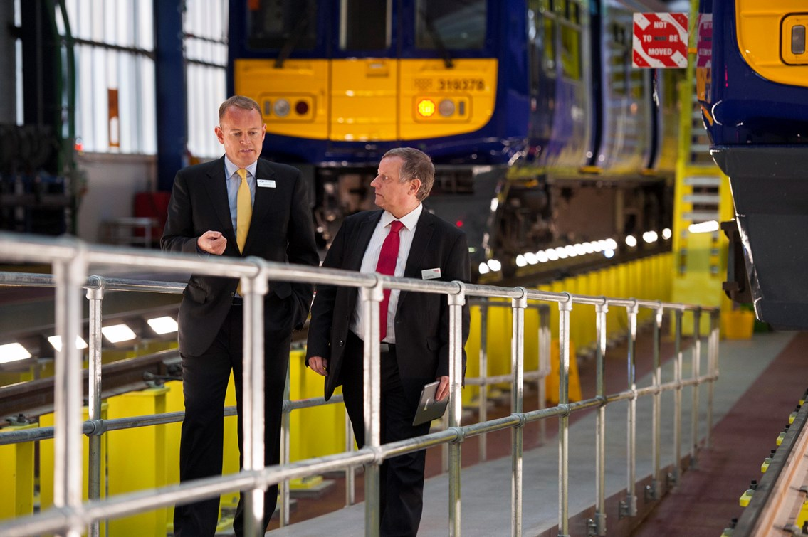 Allerton depot opens to electric trains after £23m makeover: Alex Hynes, of Northern Rail, and Terry Strickland, of Network Rail, at the refurbished Allerton depot