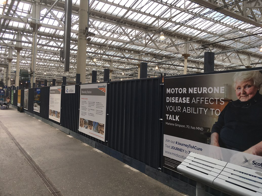 Edinburgh Waverley puts charities in the picture: Waverley hoardings 1