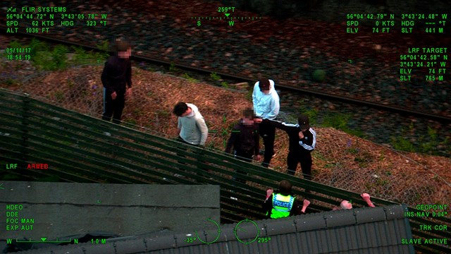 Helicopter And theyre off - pixelated v: young people hanging out by the railway