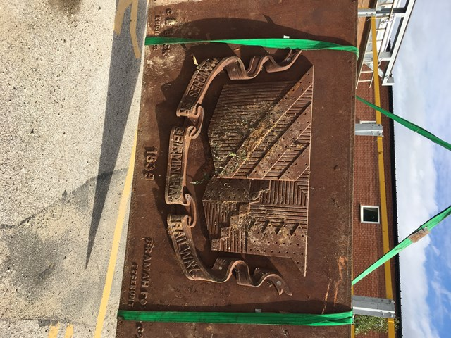 Missing Manchester & Birmingham Railway plaque rusty