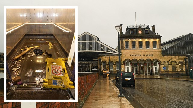 Freak flash floods swamp subway and lifts at Preston station: Preston station lifts flooded composite (1)