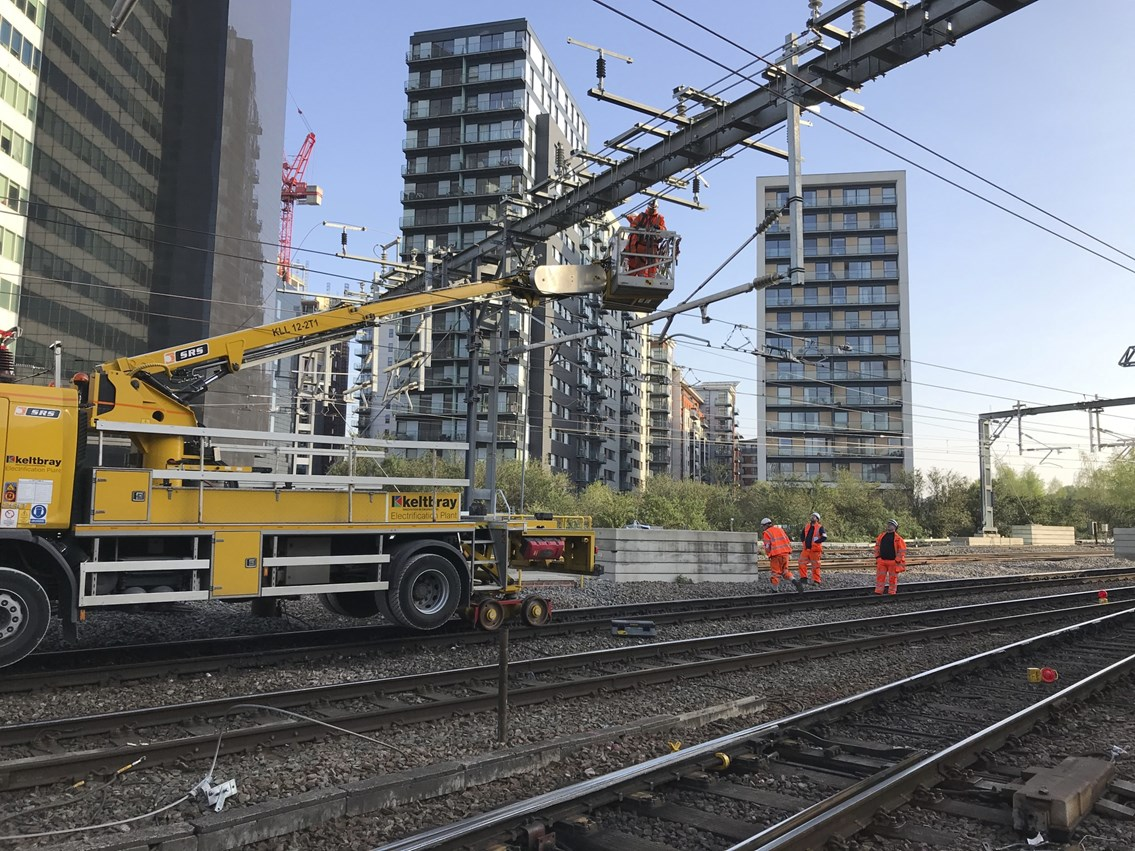 'Stay off the railway' warning as high voltage cables switched on in Manchester: Manchester Vic OLE installation