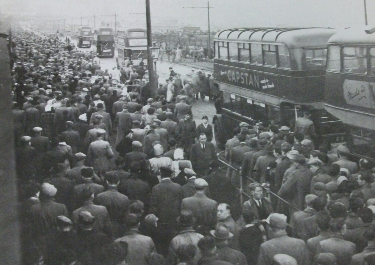 Leeds United Supporters Early 1950s.  Image: © Leeds United Football Club: Leeds United fans on their way home after a match at Elland Road. This photograph isn't dated, but looking at similar photographs of the area, it was probably taken in the early 1950s. Image: © Leeds United Football Club