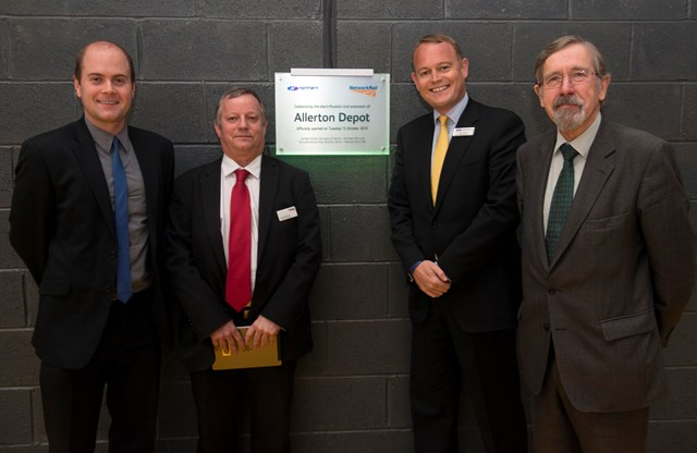 Liam Robinson, chair of Merseytravel; Terry Strickland of Network Rail; Alex Hynes of Northern Rail; and Councillor Andrew Fender, chair of TfGM