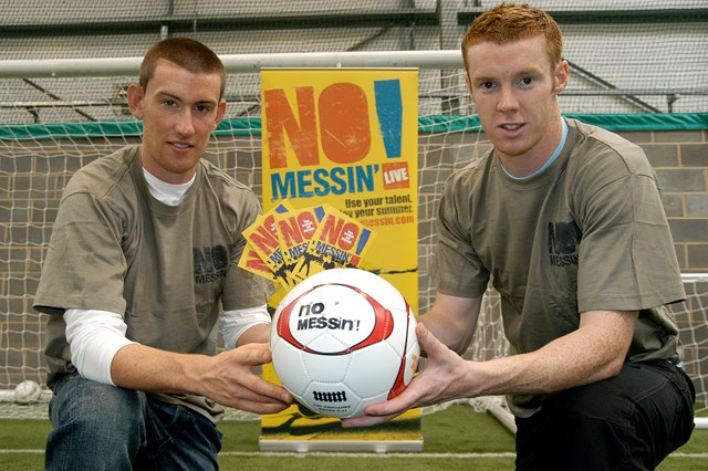 David Jones and Stephen Pearson from Derby County FC give their backing to Network Rail's No Messin'! campaign: David Jones and Stephen Pearson from Derby County FC give their backing to Network Rail's No Messin'! campaign