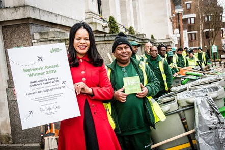 Cllr Claudia Webbe with Islington street sweepers following Islington's award from Keep Britain Tidy for Outstanding Service Delivery