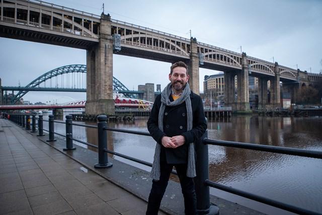 Hit railway TV series showcases history of iconic North East landmark: Tim Dunn and High Level Bridge, photo credit: UKTV