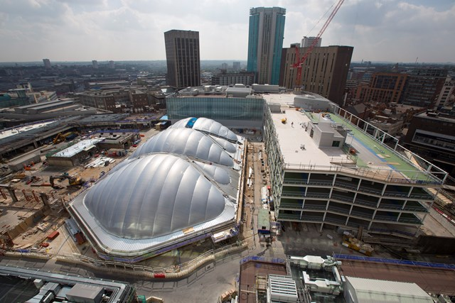 Final piece of ETFE going in at Birmingham New Street Station: Final piece of ETFE going in to complete the atrium shell at Birmingham New Street Station