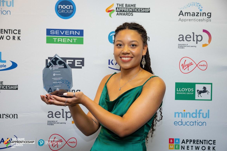 Bintou Keita, attending the BAME apprenticeship awards