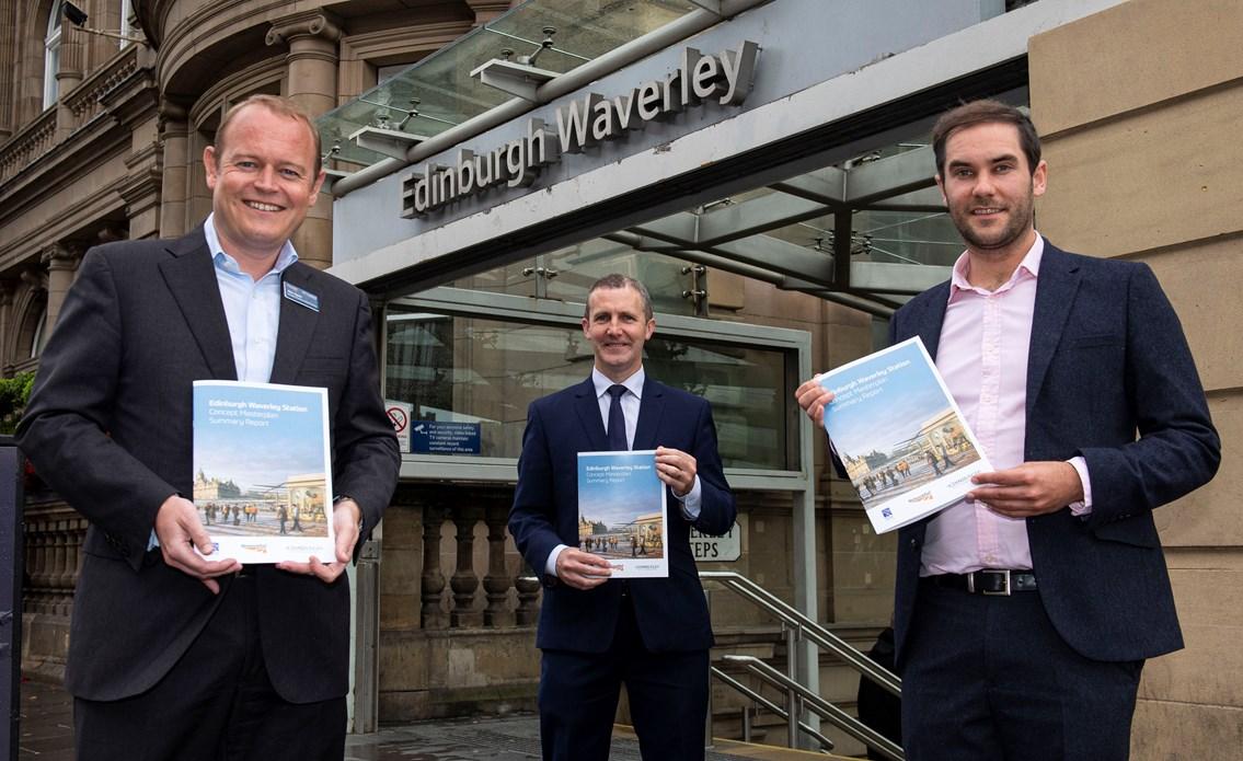 Waverley Masterplan concept revealed: Masterplan 1 Alex Hynes (left) Michael Matheson and Adam McVey