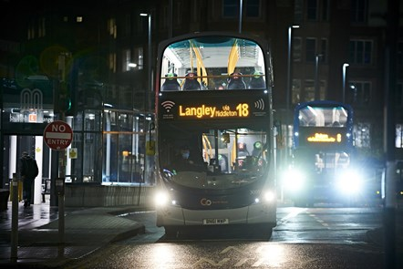 Night picture of buses