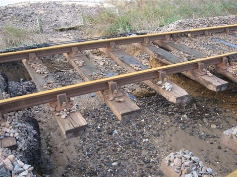 Tracks damaged by flooding in Norfolk