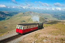Train near top of Snowdon on Mountain Railway