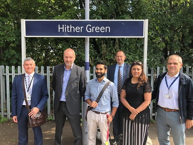Accessibility Minister visits South East London to mark first anniversary of government's Inclusive Transport Strategy: Rob Sue (Network Rail), David Statham, Dr Amit Patel, Anthony Smith (Transport Focus), Nus Ghani MP and Justin Ryan at Hither Green
