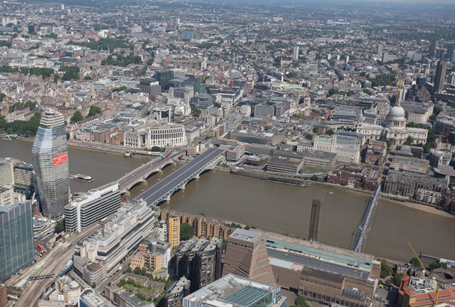 Kent passengers urged to check before travelling on Tuesday as some additional trains diverted to and from London Blackfriars: aerial- Blackfriars (1)