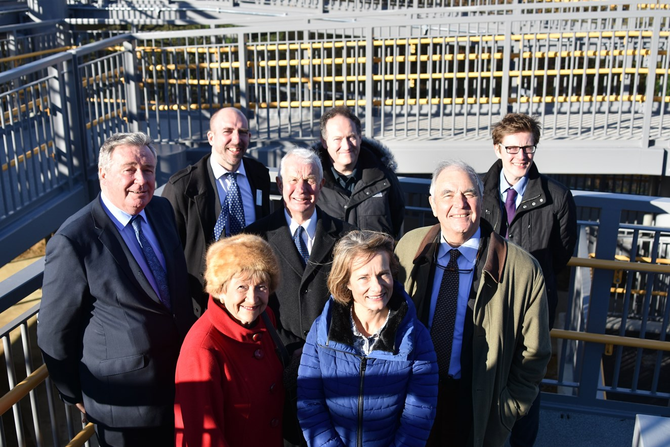 Local war survivor honoured in naming of new Surrey footbridge by Network Rail: Stuart Kistruck, Network Rail, marks the official opening of Rosa's bridge in Gomshall alongside Sir Paul Beresford MP, and members of Rosa's family