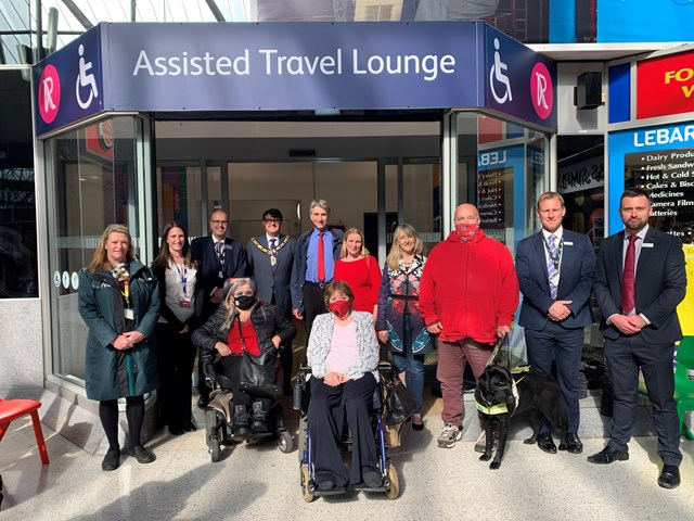 Group shot of those attending official opening of Assisted Travel Lounge at Reading station: (l-r) Dianne Osgood, GWR Customer Ambassador; Bernadette Sachse, Network Rail's Stations Transformation Insights Lead; Mike Gallop, Network Rail's Western route and strategic operations director; Councillor Helen Bryant, Access Officer; Mayor of Reading, Councillor David Stevens; Councillor Tony Page, Deputy Leader of Reading Borough Council; Patricia White, Reading Borough Council Disabilities Working Group member; Councillor Rachel Eden, Reading Borough Council Former Disabilities Working Group Chair; Councillor Karen Rowland, Lead Councillor for Culture, Heritage & Recreation; Stuart Pearce, Reading Borough Council Disabilities Working Group member; Phil Delaney, GWR Commercial Director; David Pinder, GWR Station Manager.