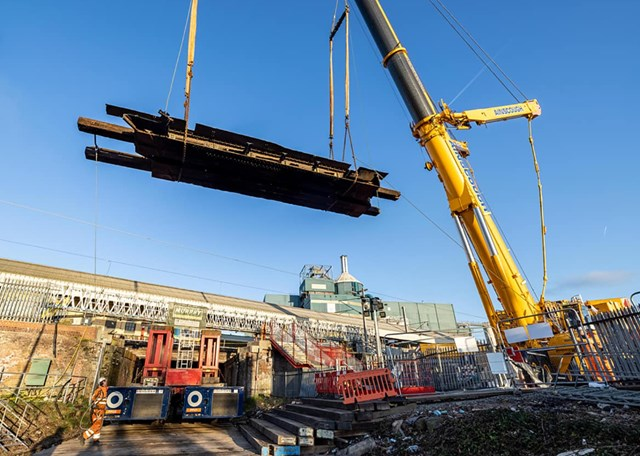 A 750T crane used to remove and replace bridges at Warrington Bank Quay