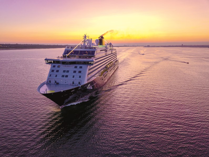 Saga Cruises' first round-Britain cruise since early 2020 departs later today: Saga Cruises - Spirit of Discovery external image (sunset)
