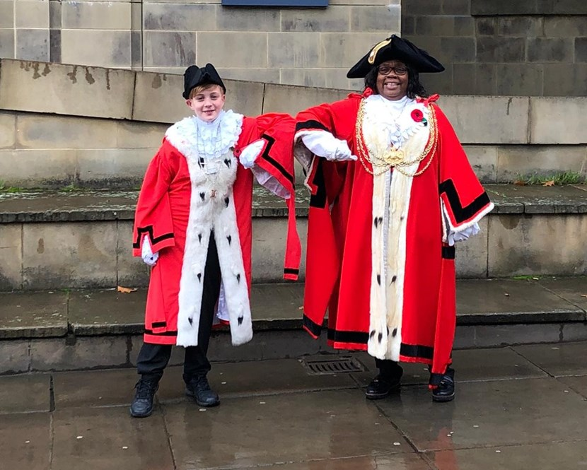Children and young people in Leeds to benefit from new youth-led mental health projects: Leeds Children's Mayor Samuel Hill with Cllr Eileen Taylor