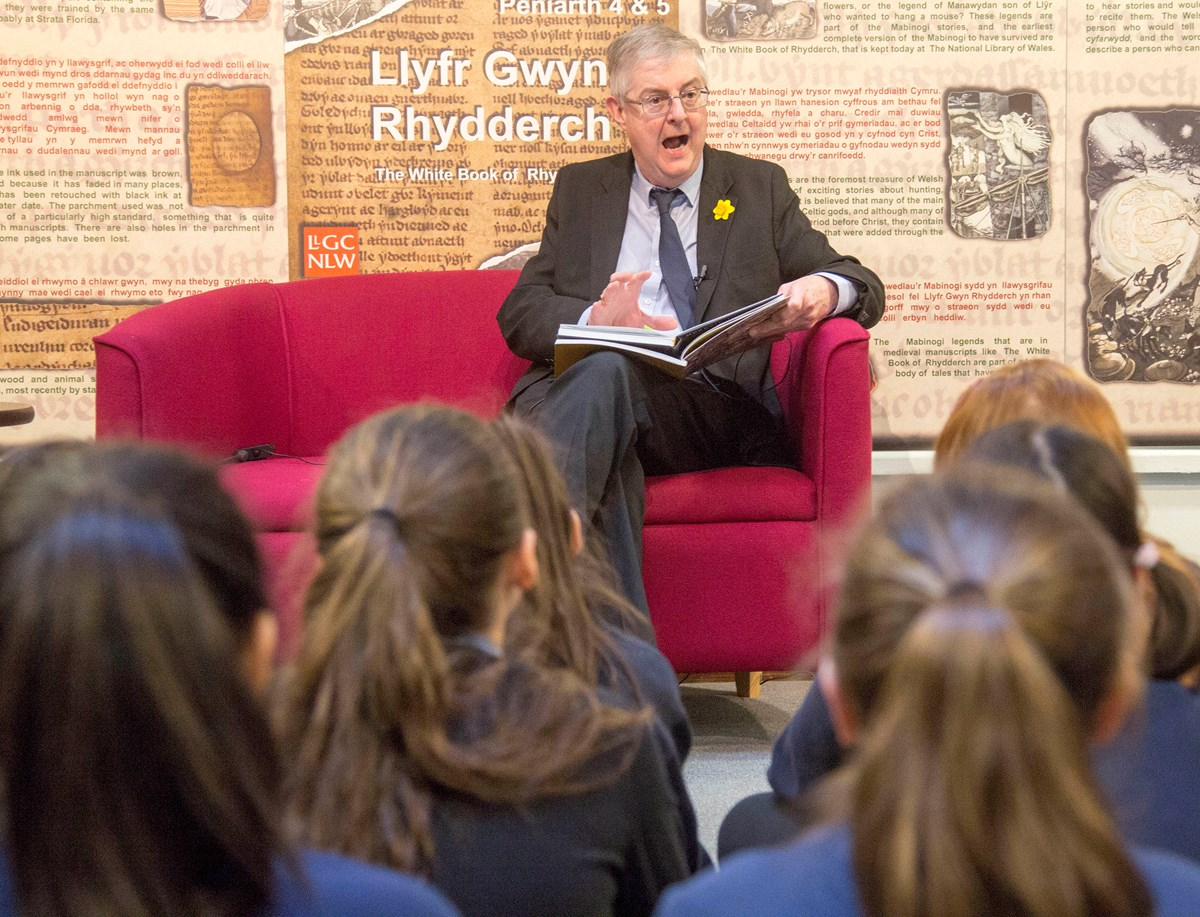 first minister - world book day 2020: First Minister reads extracts of the Mabinogion to school pupils in the national Library of Wales ahead of World Book Day