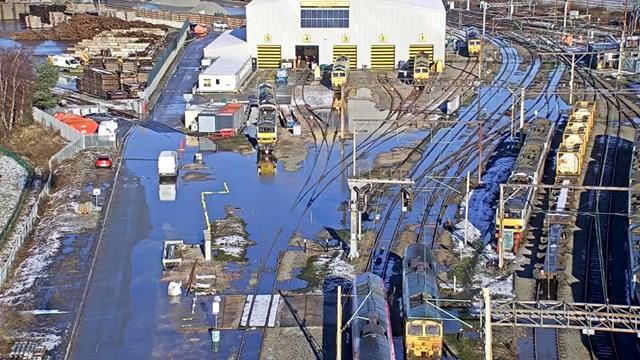 Crewe Basford Hall depot after Storm Christoph