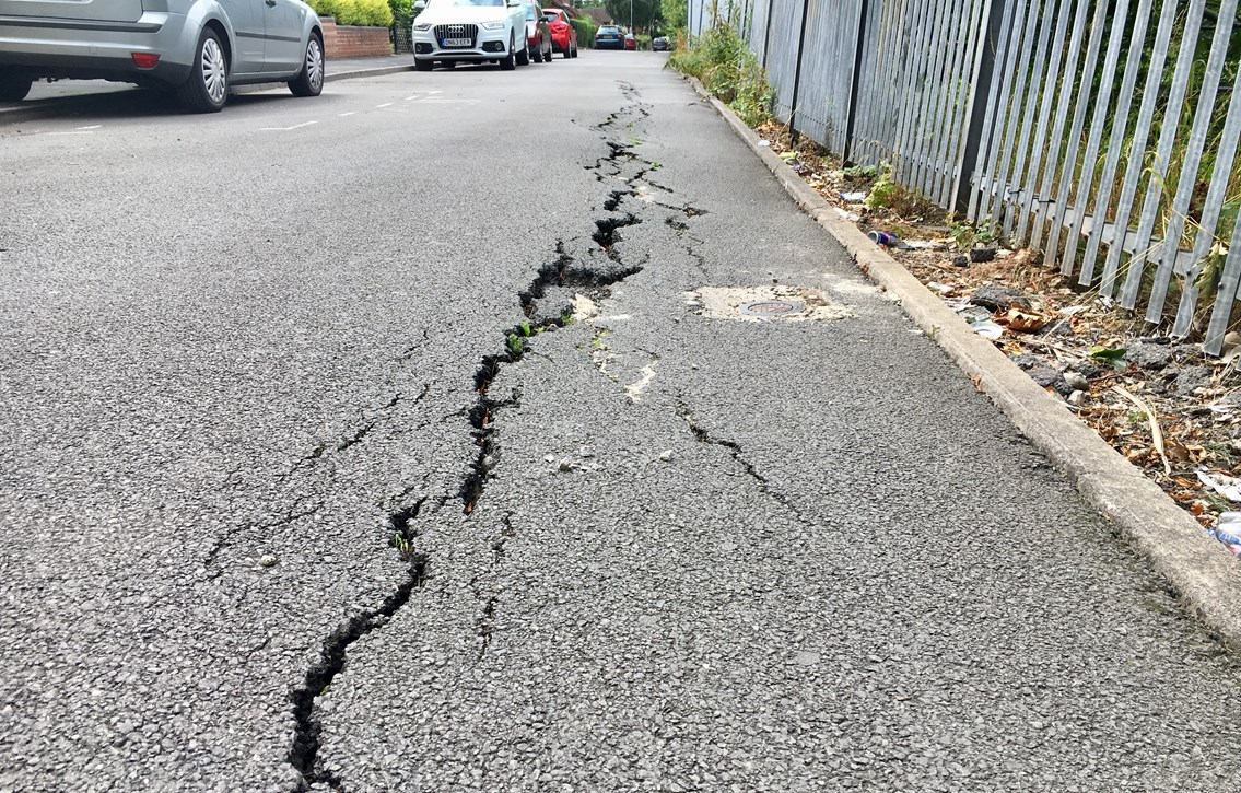 No more cracks in the Potteries: moving railway embankment stabilised in Stoke-on-Trent: The cracked road in West Parade in 2018