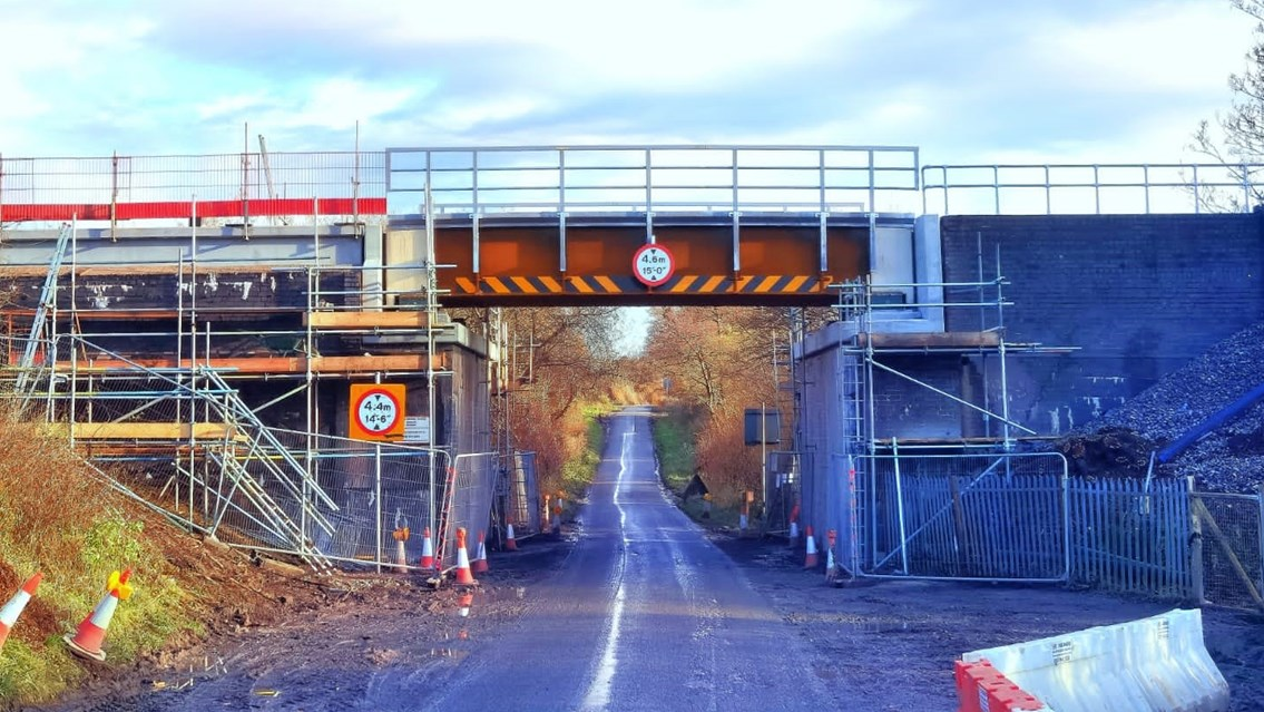 Important freight route secured by £4.5m Cheshire railway bridge upgrades: Whatcroft Hall Lane new bridge from street level