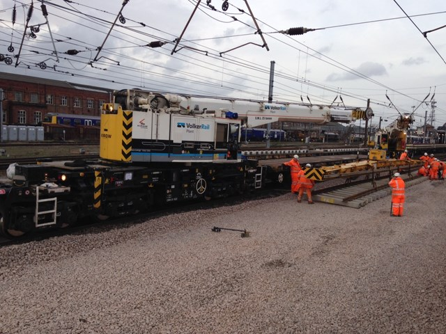 New track going in at Doncaster: Christmas 2015, engineering, IP Track. high speed handback