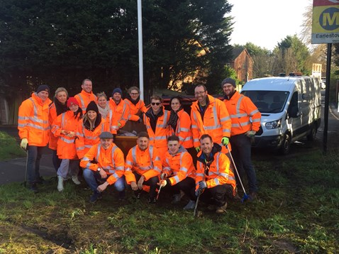Communications team litter pickers from Network Rail's london North Western route business at Earlestown station
