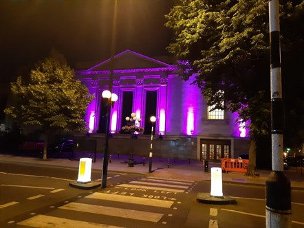 Islington Assembly Hall lit in purple June 2-3 2020 - pic 3: Picture: Islington Council