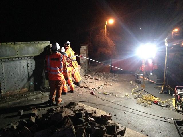 Trains continue to run on the West Coast main line after overnight bridge repairs: Overnight bridge work at Worston Lane