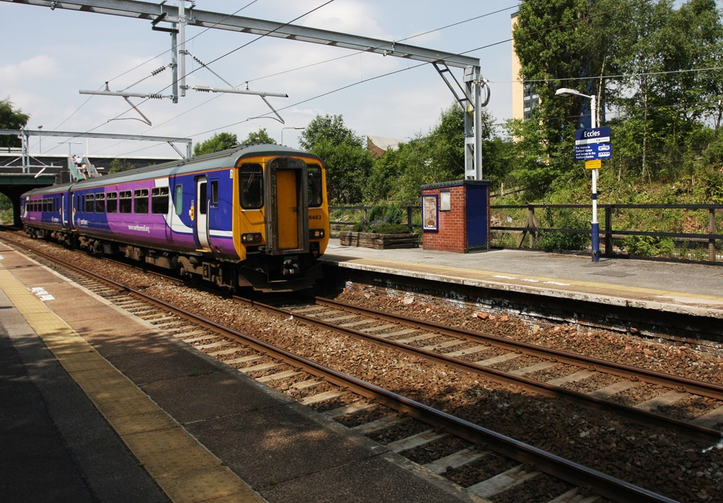 Network Rail reveals record investment in the railway in the West Midlands and north west: Eccles station, where a plaque marks the electrificaton of the line - July 2013