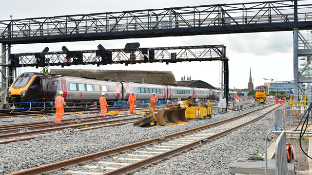 Work progressing well at Bristol East Junction as major track upgrade reaches half-way point: Bristol East Junction with CrossCountry train