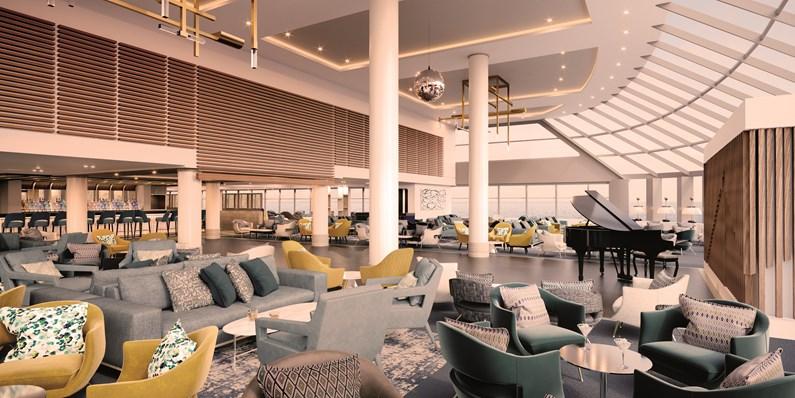 Spirit of Adventure's 'sense of occasion' styling meets Best of British contemporary design: Britannia lounge SHP Spirit Of Adventure INT 12482a