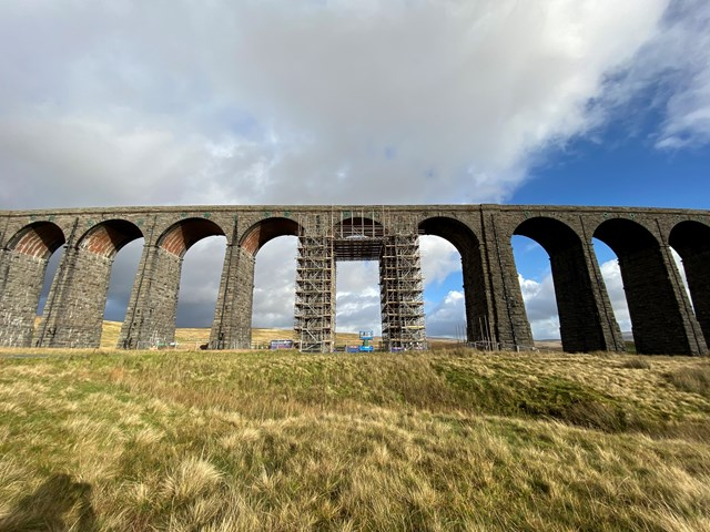 Ribblehead viaduct with scaffolding in place for the upgrade work