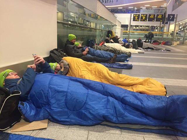 Railway charity station sleep out raises money for vulnerable children: Railway Children sleep out Birmingham New Street