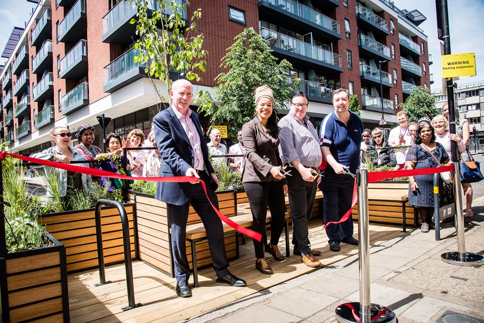 Parklet is little oasis in the heart of the busy city: Islington's first parklet, in Central Street, is launched with residents and (L-R) Austin Casey of Old Street District Partnership, Cllr Claudia Webbe, Islington Council's executive member for environment and transport, and Bunhill ward councillors Cllr Phil Graham and Cllr Troy Gallagher