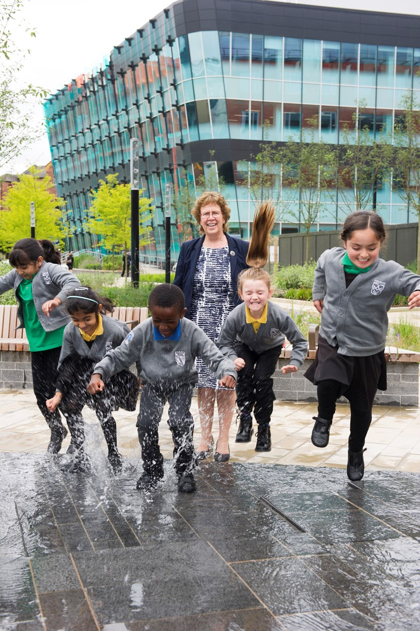 Idea blooms into city centre oasis for Leeds: sovereignsquareopeningcllrblakekidswaterfeature.jpg