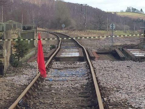 A photograph shows the misaligned track following a bridge strike at Castleton Moor
